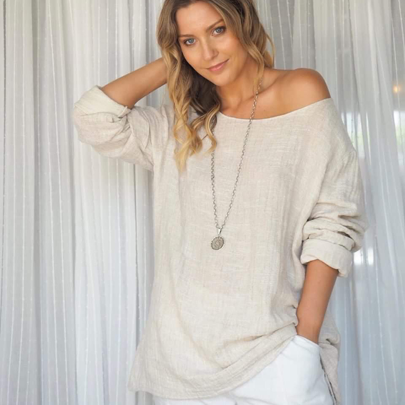 Madison linen/cotton long sleeve top - NATURAL