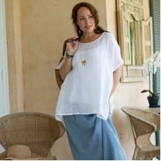 Linen Sheer Top - WHITE - Martha