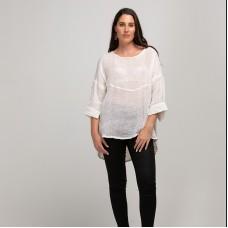Melanie Linen gauze Top - Winter white