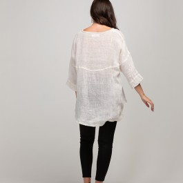 Linseed Designs embroidered linen gauze Melanie top