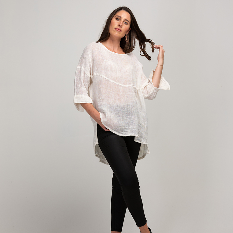 Melanie Linen gauze shirt - off white