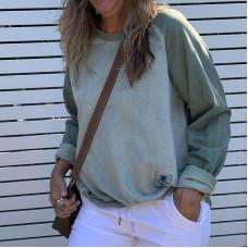 Mitelli Faux Suede Sweat top - Sage Green