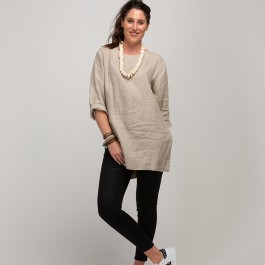 Linseed Linen Tunic Top STONE